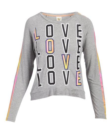 Self Esteem Clothing Heather Gray Love Crewneck Sweatshirt Juniors