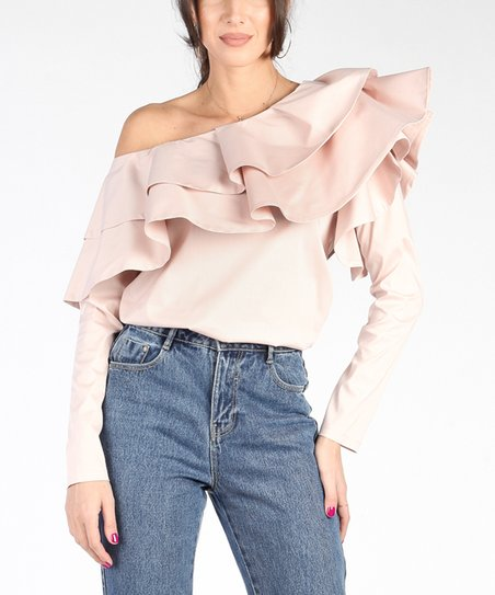 430adc0b9a32a love this product Light Pink Ruffle-Accent Off-Shoulder Top - Women
