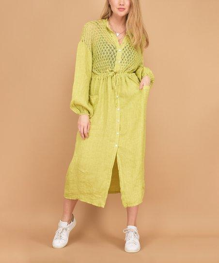 40b48f6dde9 100% LIN BLANC Green Open-Knit Pocket Linen Shirt Dress - Women