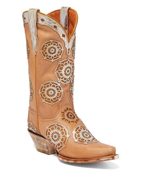 bd41101942c Dan Post Light Tan Circus Flower Leather Cowboy Boot - Women
