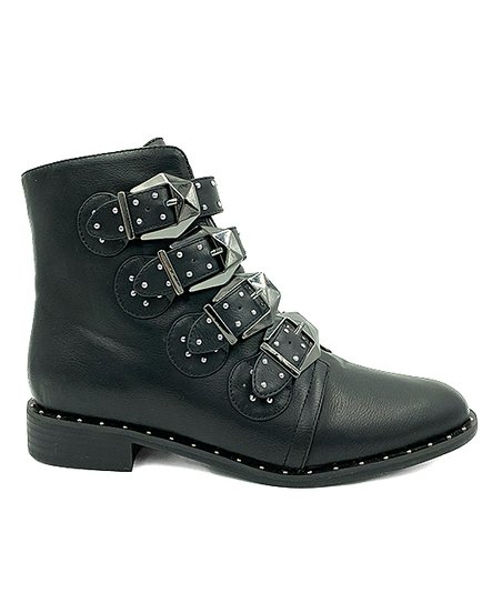 e5936f0c59f5 Bamboo Black Studded-Strap Preppy Ankle Boot - Women