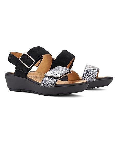 Black Folina Leather Sandal - Women