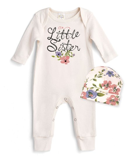 a7a75d584abd love this product Ivory  Little Sister  Romper   Quaint Flowers Beanie -  Newborn   Infant