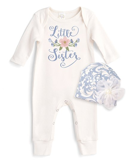 e635a2b8a2d9 love this product Ivory   Blue Floral  Little Sister  Romper   Beanie Set -  Newborn   Infant