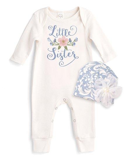 b62f3de49ca0 love this product Ivory   Blue Floral  Little Sister  Romper   Beanie Set -  Newborn   Infant