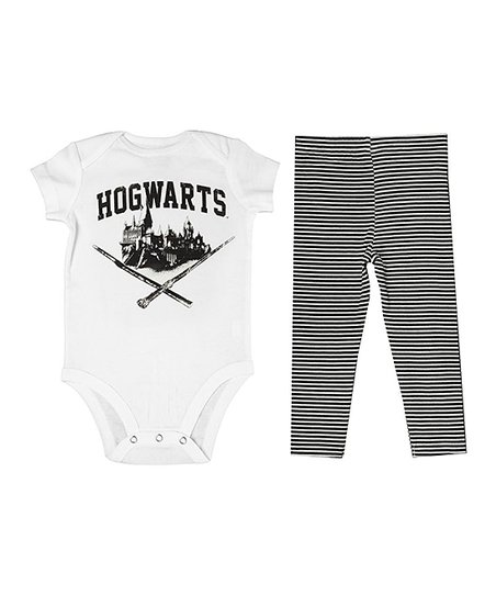 3a18110ba8a5b love this product Harry Potter White 'Hogwarts' Bodysuit & Black Stripe  Leggings - Infant