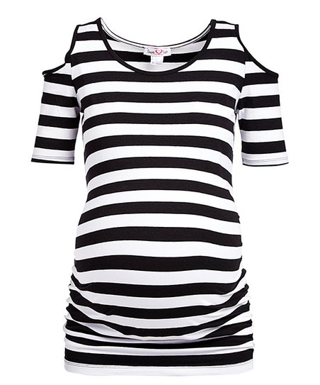 6a22619faeee6 love this product Black   White Stripe Cold-Shoulder Maternity Top - Women    Plus