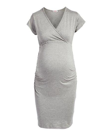 3454de01b4a Times 2 Gray Nursing/Maternity Surplice Midi Dress | Zulily