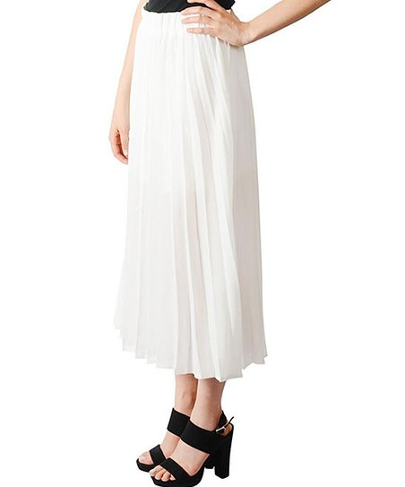 9c0633a93b11 Smai NYC Ivory Pleated Midi Skirt - Juniors | Zulily