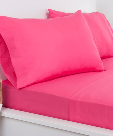 Hot Magenta Brushed Microfiber Sheet Set