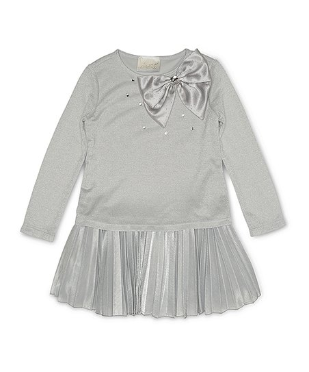 ac4c97545dd9 Biscotti & Kate Mack Silver Bow Tie Pleated Dress - Girls | Zulily