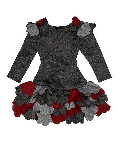 6310ff53e2a3 Biscotti & Kate Mack Charcoal Ruffle-Accent Dress - Girls | Zulily