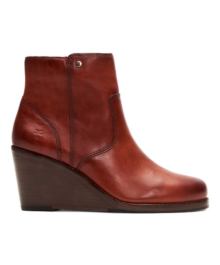 04b295e3e3af Frye Brown Emma Leather Wedge Booties - Women