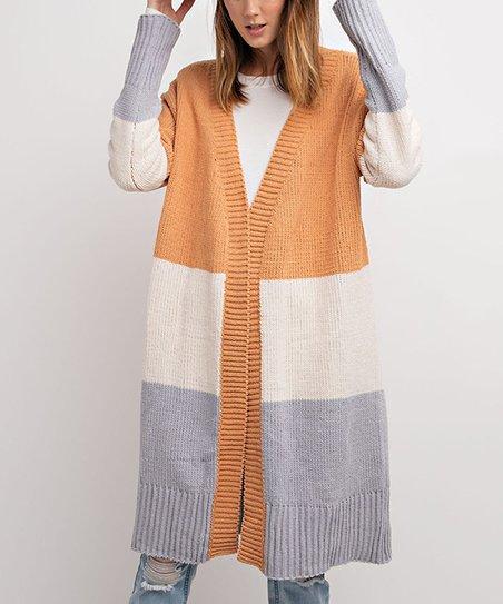 b42e6bd94 Mustard Color Block Maxi Open Knit Cardigan - Women