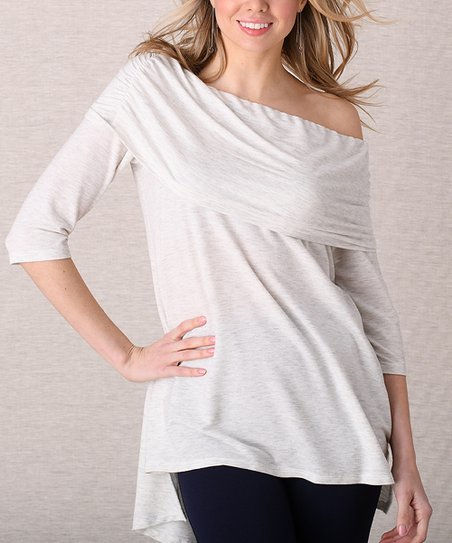 a6be97cd60ca6 love this product Ivory Oatmeal Ruched Off-Shoulder Top - Women   Plus