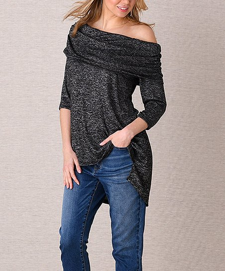 c9c09034f0c84 love this product Black Heather Ruched Off-Shoulder Top - Women   Plus