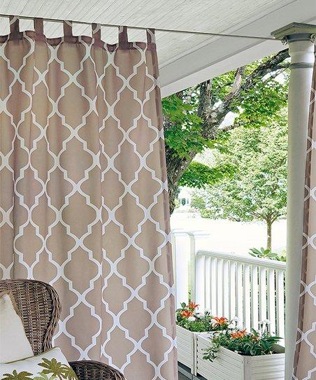 Elrene Home Fashions Ecru Lattice Corado Indoor Outdoor Curtain