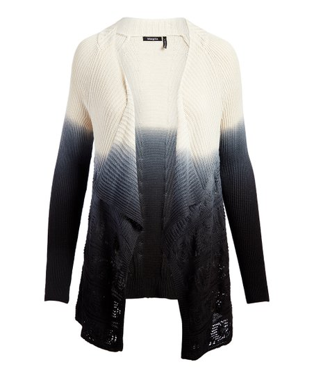 2fbbc9ba12b3 Selection Blue Ombré Open-Knit Trim Shawl-Collar Cardigan - Women ...