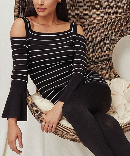2cb09b2f536bb love this product Black   White Stripe Bell-Sleeve Cold-Shoulder Sweater -  Women