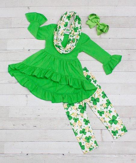 d31dcf1b7711 Dress Up Dreams Boutique Lime Green Clover Pants Set - Newborn ...