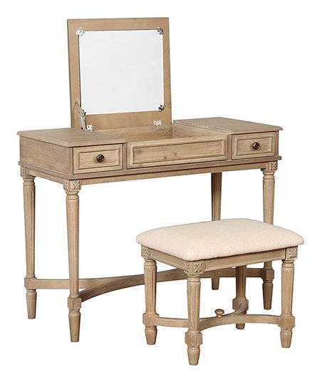 Prime Linon Home Gray Wash Cyndi Vanity Desk Stool Zulily Gmtry Best Dining Table And Chair Ideas Images Gmtryco