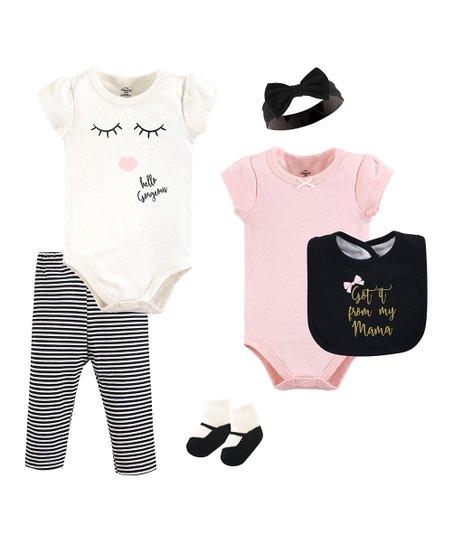 7845164aa Little Treasure White   Pink Hello Gorgeous Bodysuit Set - Infant ...