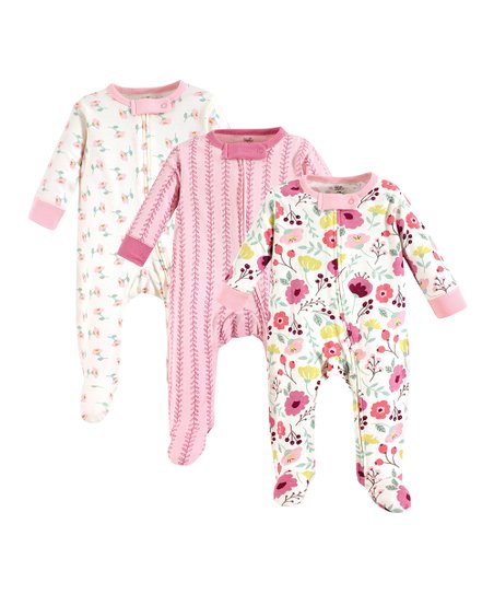 d4c8346592 Touched by Nature Pink   White Floral Organic Cotton Footie Set - Infant