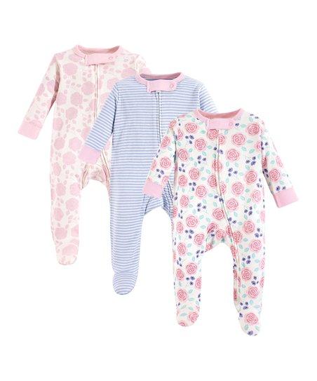 49477e7108 Touched by Nature Pink   Blue Floral Organic Cotton Footie Set - Newborn    Infant