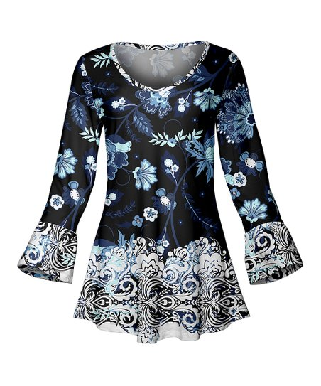 c5ce37fd917 love this product Navy & White Floral Bell-Sleeve Scoop Neck Tunic - Women  & Plus