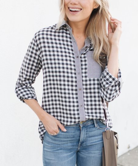 a29195ff Amaryllis Black & White Gingham Button-Up - Women & Plus | Zulily