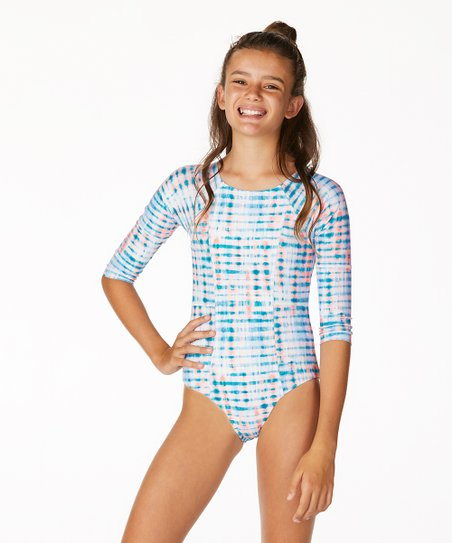 8171f186db75d Raisins Girls Blue Manuka One-Piece Rashguard - Girls | Zulily