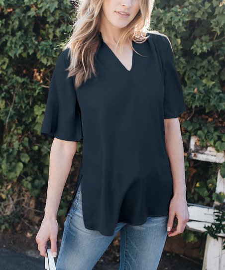 Woman Within Womens Plus Size Notch Neck Flutter Sleeve Tee