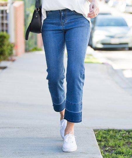 df352823e9f41e Amaryllis Medium Indigo Contrast-Hem Jeans   Zulily