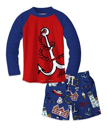 e2f85574c3 love this product Red & Navy Anchor & Sea Lighthouse Long Sleeve Rashguard  Set - Toddler & Boys