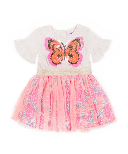 2ba7ad539522 love this product Ivory & Pink Butterfly Trumpet-Sleeve Dress - Toddler