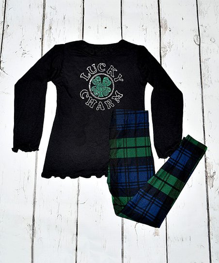 92d0dfb1707 love this product Black  Lucky Charm  Tee   Green Plaid Leggings - Toddler    Girls