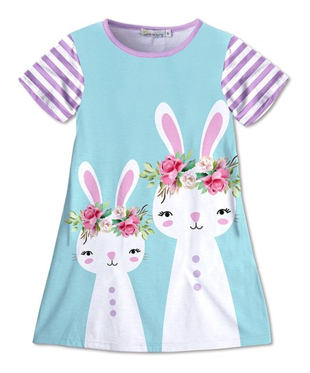 b7cc28885ad8 love this product Turquoise   Lavender Stripe Bunny T-Shirt Dress - Toddler    Girls