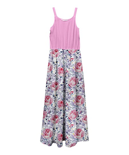 71a8691a2de love this product Pink Floral Color Block Sleeveless Maxi Dress - Girls