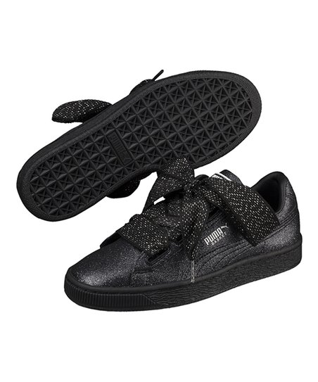 PUMA Black   Silver Basket Heart Holiday Glamour Jr Sneaker - Girls ... bd8c11e1d