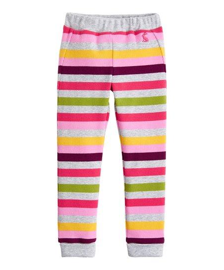 c40b8516ffba6 love this product Gray Marl & Pink Stripe Isla Ribbed Leggings - Toddler &  Girls