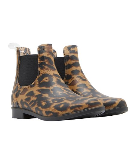 119f3e237c6c Joules Dark Leopard Rockingham Chelsea Rain Boot - Girls | Zulily
