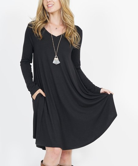 13d17ac42f0 love this product Black V-Neck Long-Sleeve Curved-Hem Pocket Tunic Dress -  Women