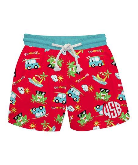 2878edd01 love this product Red Summer Frogs Monogram Swim Trunks - Infant, Toddler &  Boys