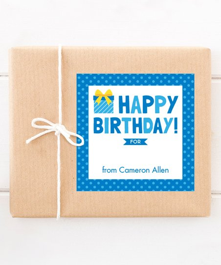 Blue Write On Personalized Birthday Gift Label