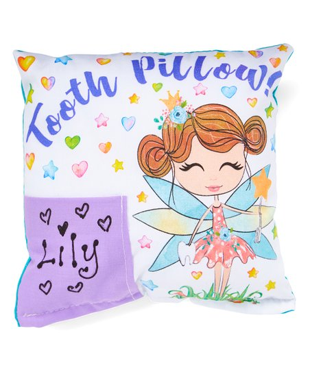 Bunnies and Bows Purple Brown-Haired Tooth Fairy Personalized Pillow ... d2175e87dc