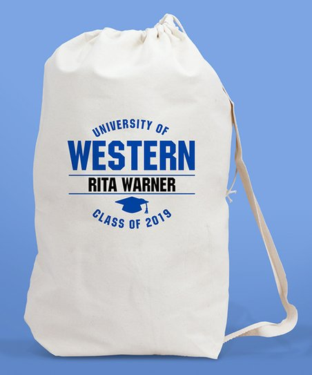 GiftsForYouNow Blue Personalized College Laundry Bag