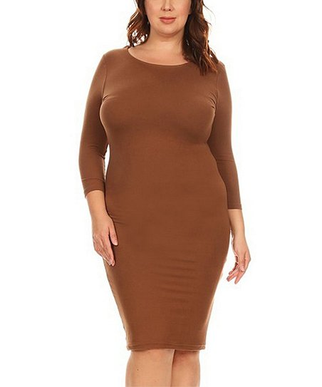 6dd093de26 love this product Mocha Three-Quarter Sleeve Bodycon Dress - Women   Juniors