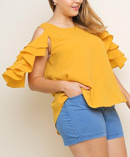 6416fa960c0b1 love this product Mango Layered-Ruffle Open-Shoulder Top - Women   Plus