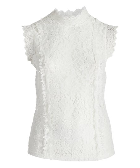 a23908915ba87 love this product White Floral Lace Sleeveless Mock-Neck Top - Plus
