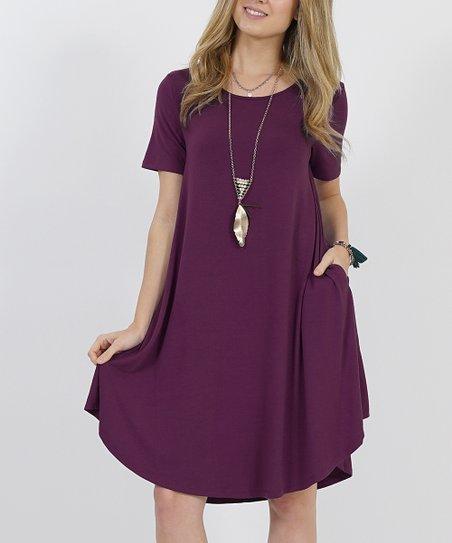 3520a7b02e1 42POPS Dark Plum Crewneck Short-Sleeve Curved-Hem Pocket Tunic Dress ...